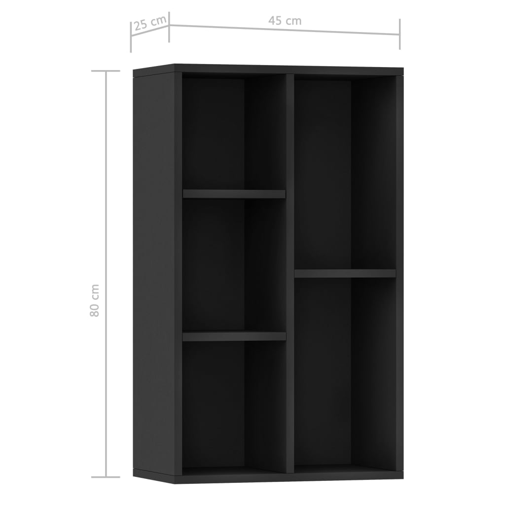 Book Cabinet/Sideboard Black 45x25x80 cm Chipboard 11