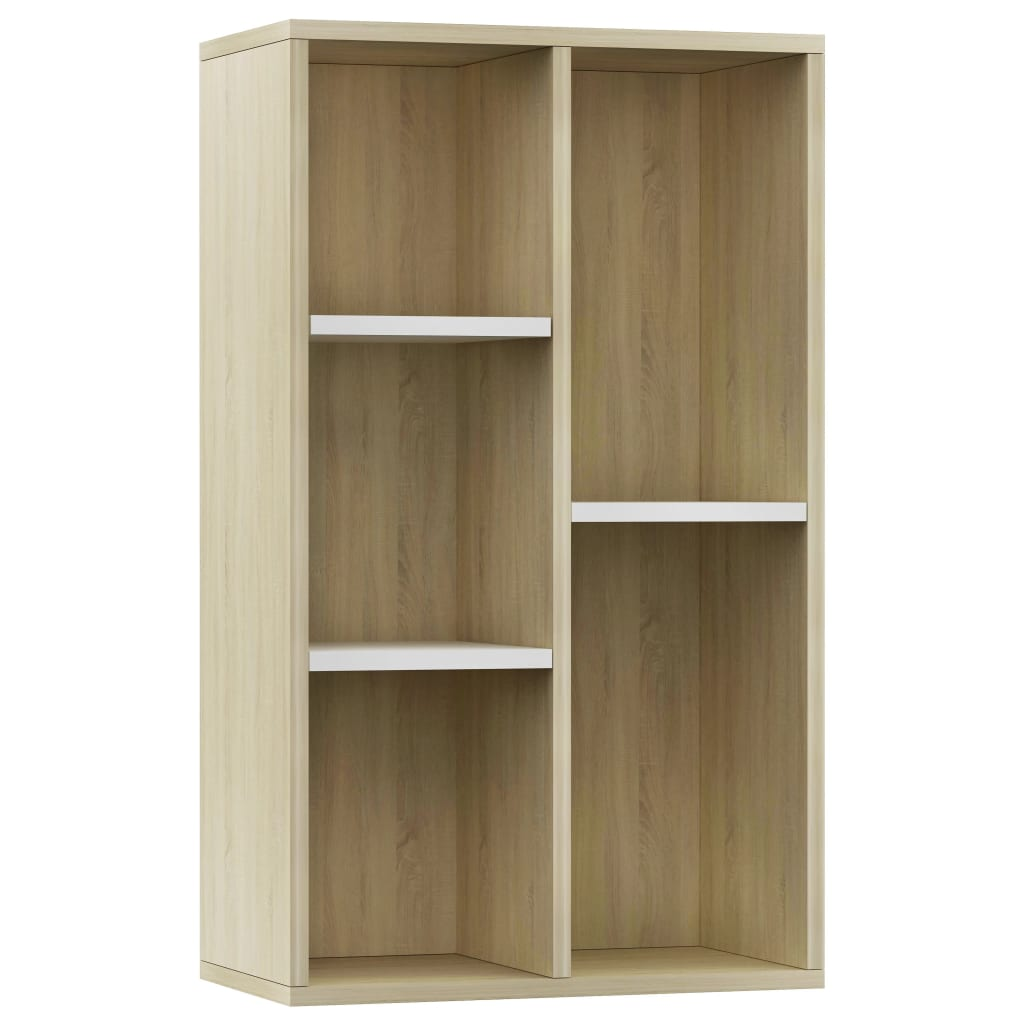 Book Cabinet/Sideboard White and Sonoma Oak 45x25x80 cm Chipboard 2