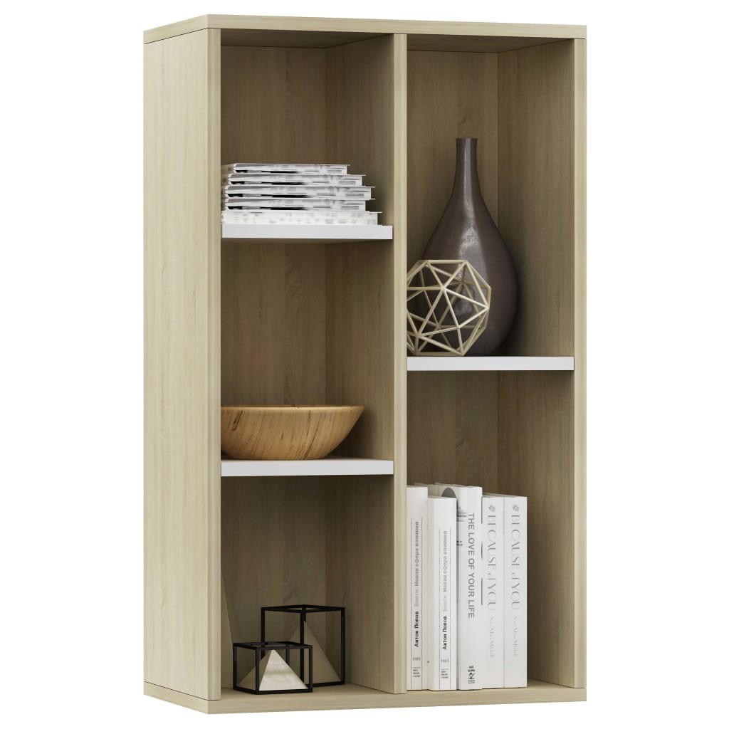 Book Cabinet/Sideboard White and Sonoma Oak 45x25x80 cm Chipboard 3