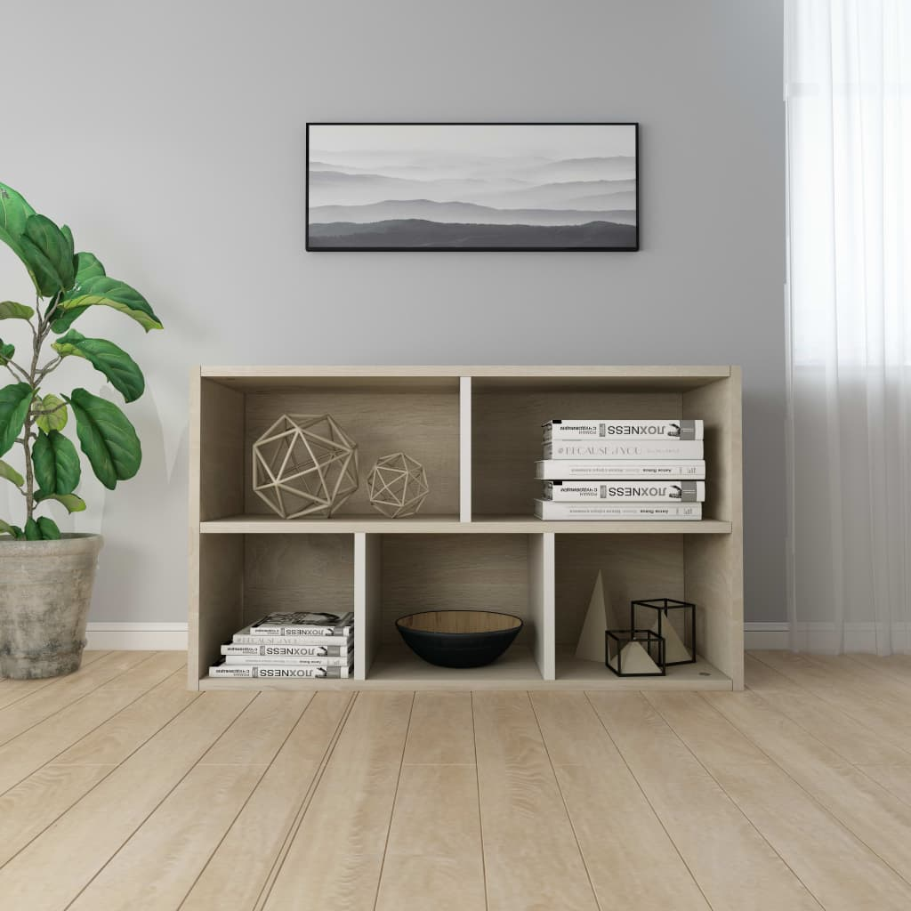 Book Cabinet/Sideboard White and Sonoma Oak 45x25x80 cm Chipboard 4