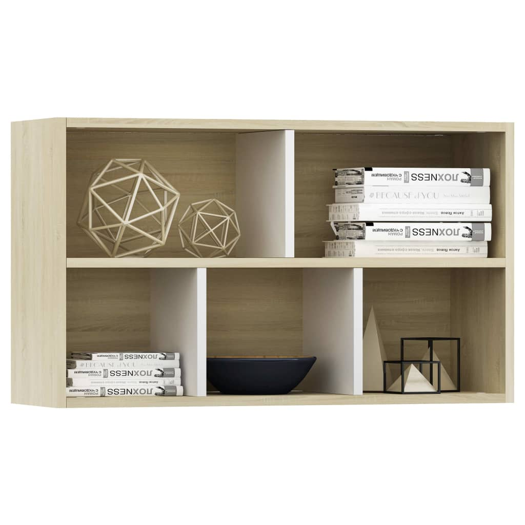 Book Cabinet/Sideboard White and Sonoma Oak 45x25x80 cm Chipboard 5