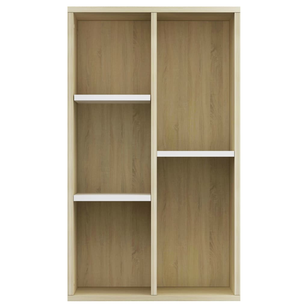 Book Cabinet/Sideboard White and Sonoma Oak 45x25x80 cm Chipboard 6