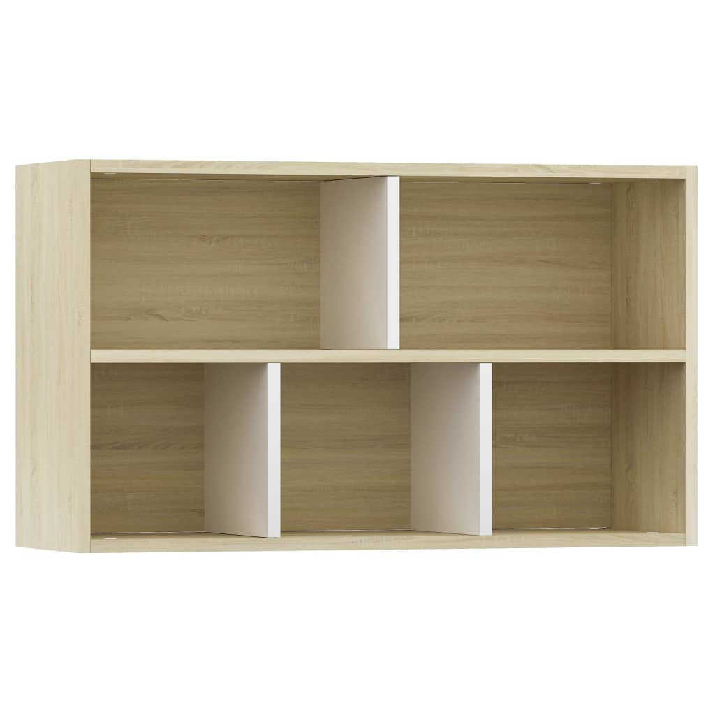 Book Cabinet/Sideboard White and Sonoma Oak 45x25x80 cm Chipboard 8