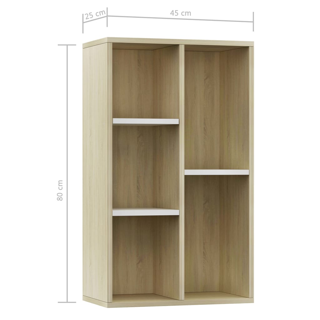 Book Cabinet/Sideboard White and Sonoma Oak 45x25x80 cm Chipboard 11