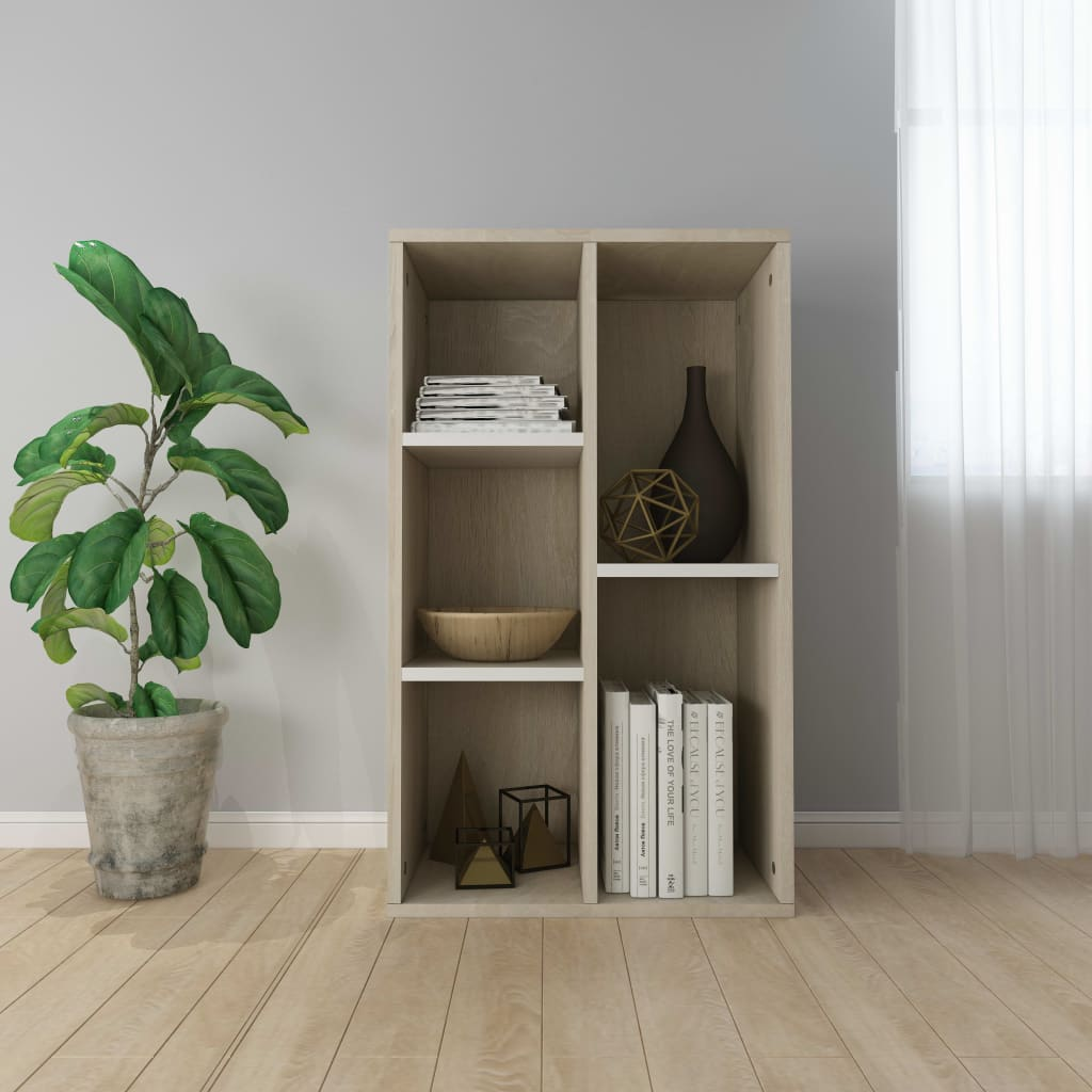Book Cabinet/Sideboard White and Sonoma Oak 45x25x80 cm Chipboard 1