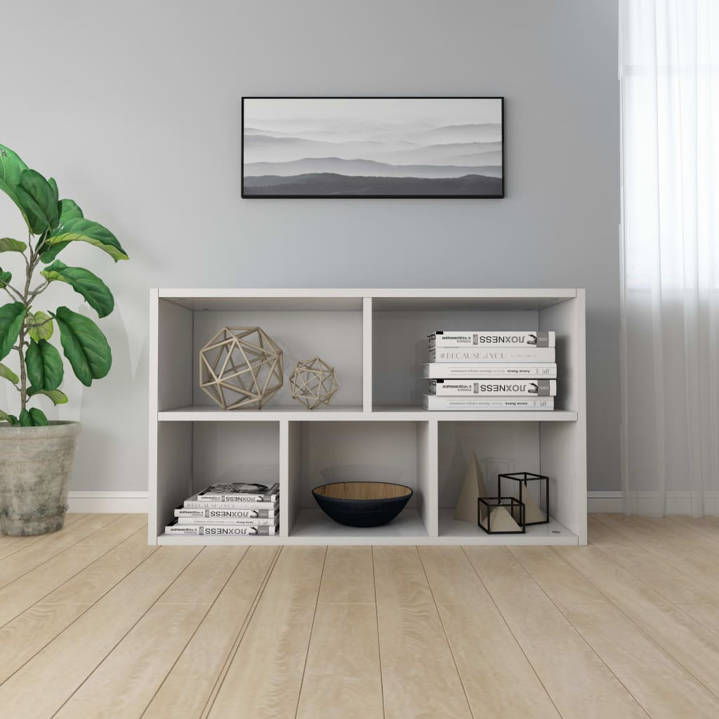 Book Cabinet/Sideboard High Gloss White 45x25x80 cm Chipboard 4
