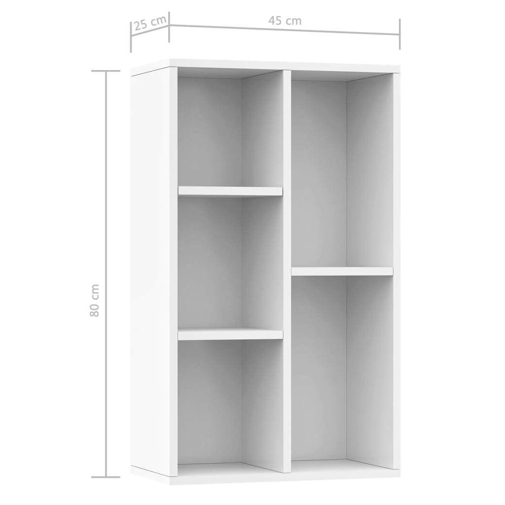 Book Cabinet/Sideboard High Gloss White 45x25x80 cm Chipboard 11