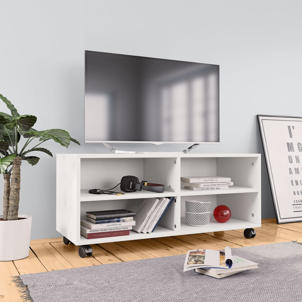 TV Cabinet with Castors White 90x35x35 cm Chipboard