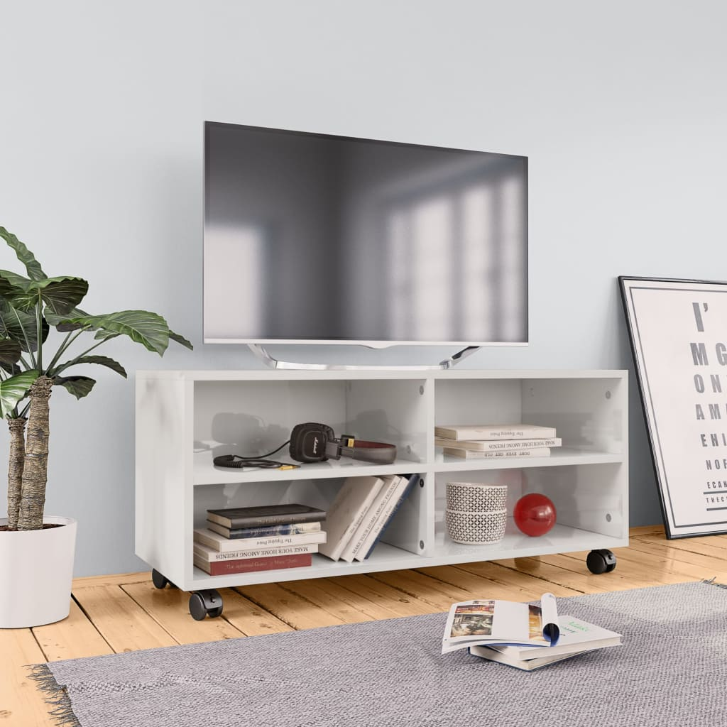 TV Cabinet with Castors High Gloss White 90x35x35 cm Chipboard