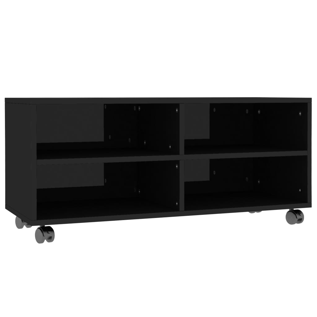 TV Cabinet with Castors High Gloss Black 90x35x35 cm Chipboard 2