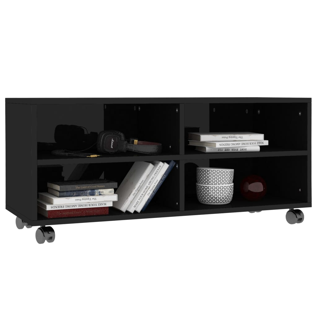 TV Cabinet with Castors High Gloss Black 90x35x35 cm Chipboard 3