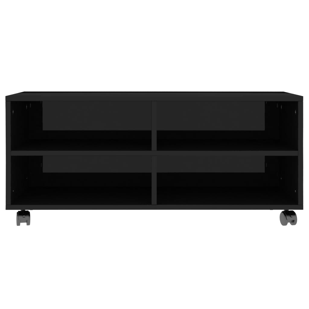 TV Cabinet with Castors High Gloss Black 90x35x35 cm Chipboard 4