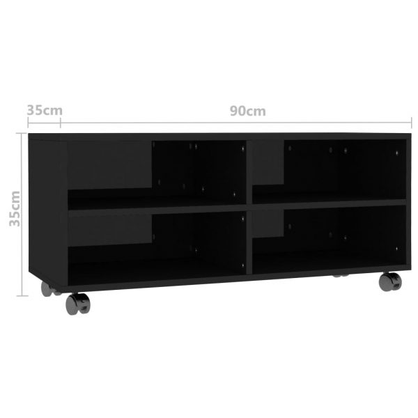 TV Cabinet with Castors High Gloss Black 90x35x35 cm Chipboard 6