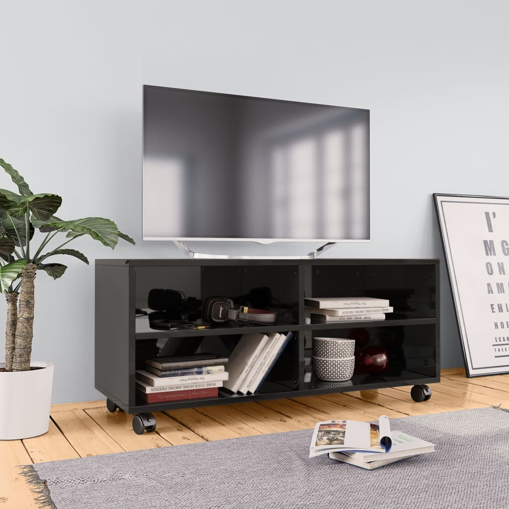 TV Cabinet with Castors High Gloss Black 90x35x35 cm Chipboard 1