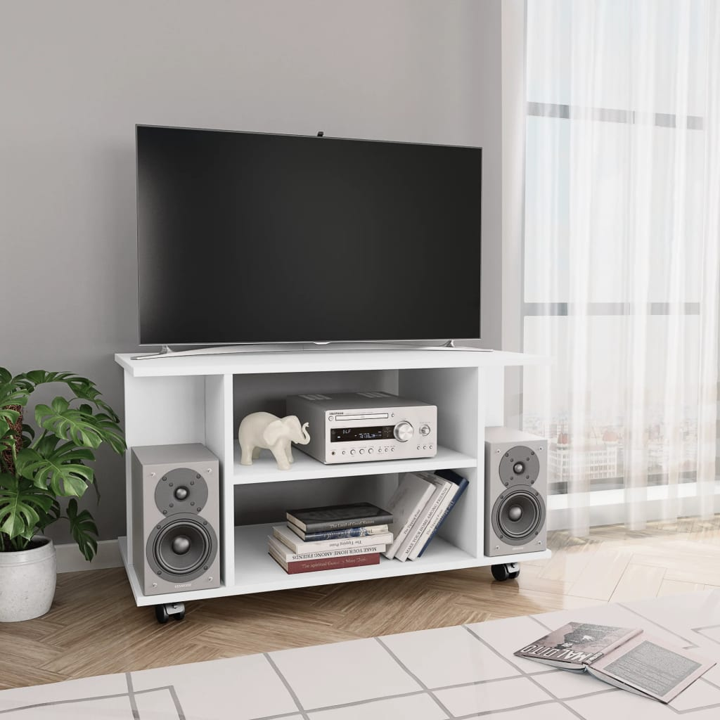 TV Cabinet with Castors White 80x40x40 cm Chipboard