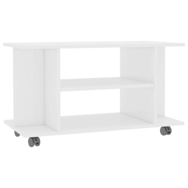 TV Cabinet with Castors High Gloss White 80x40x40 cm Chipboard 2