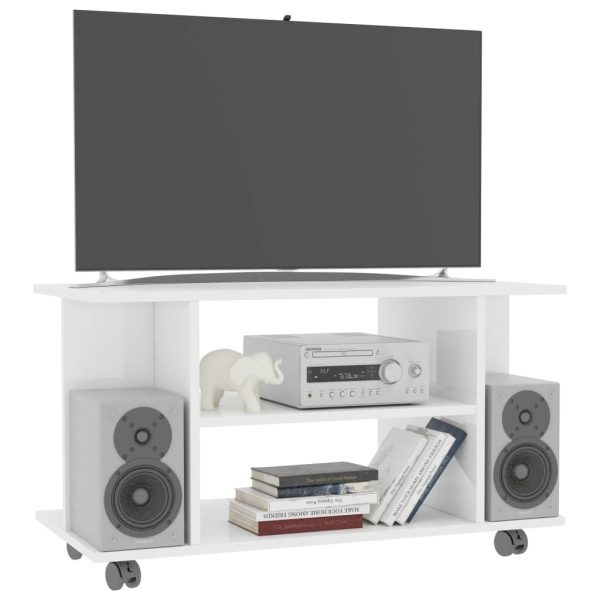 TV Cabinet with Castors High Gloss White 80x40x40 cm Chipboard 3