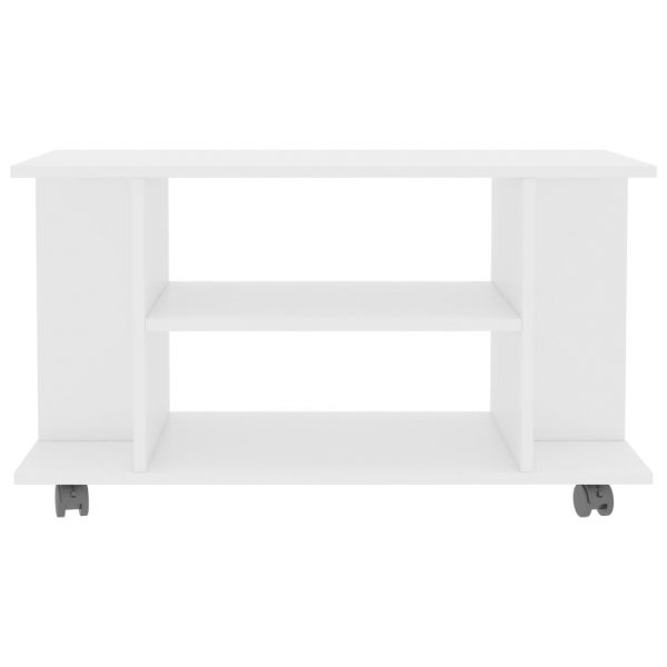 TV Cabinet with Castors High Gloss White 80x40x40 cm Chipboard 4