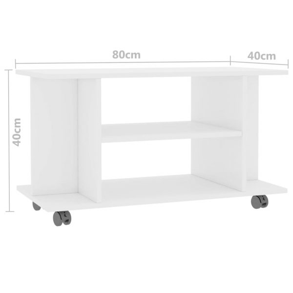 TV Cabinet with Castors High Gloss White 80x40x40 cm Chipboard 6