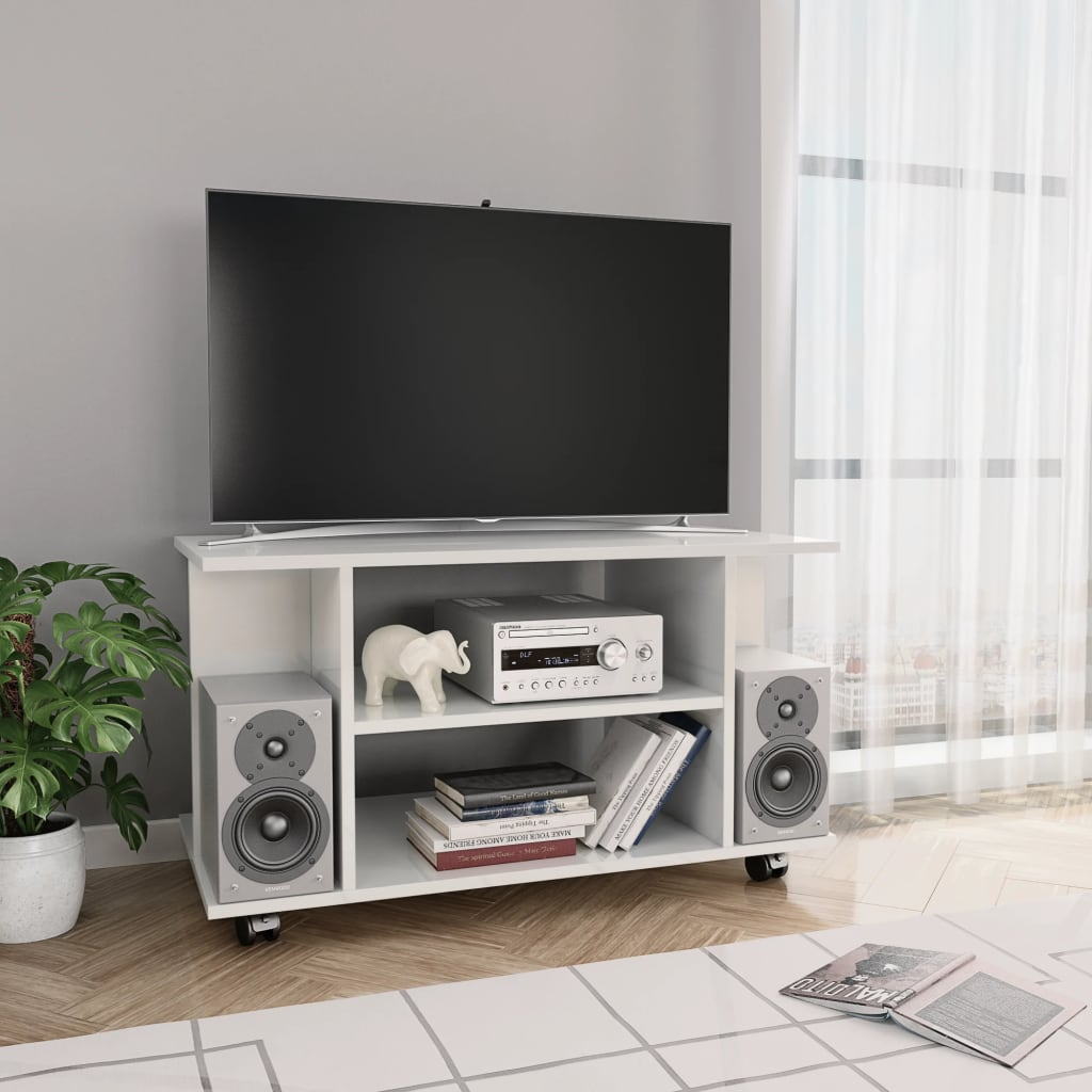 TV Cabinet with Castors High Gloss White 80x40x40 cm Chipboard 1