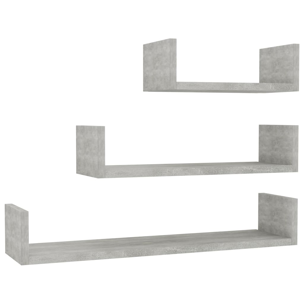 Wall Display Shelf 3 pcs Concrete Grey Chipboard 2