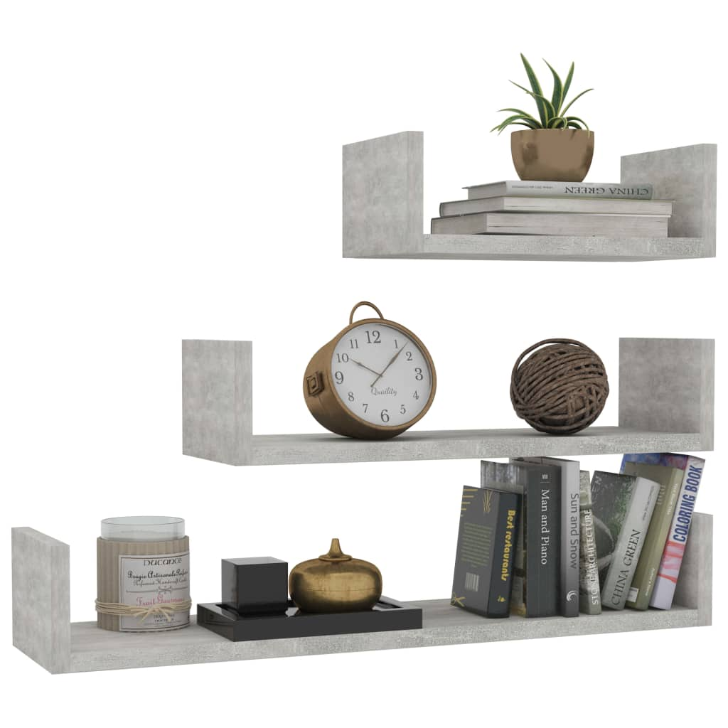Wall Display Shelf 3 pcs Concrete Grey Chipboard 3