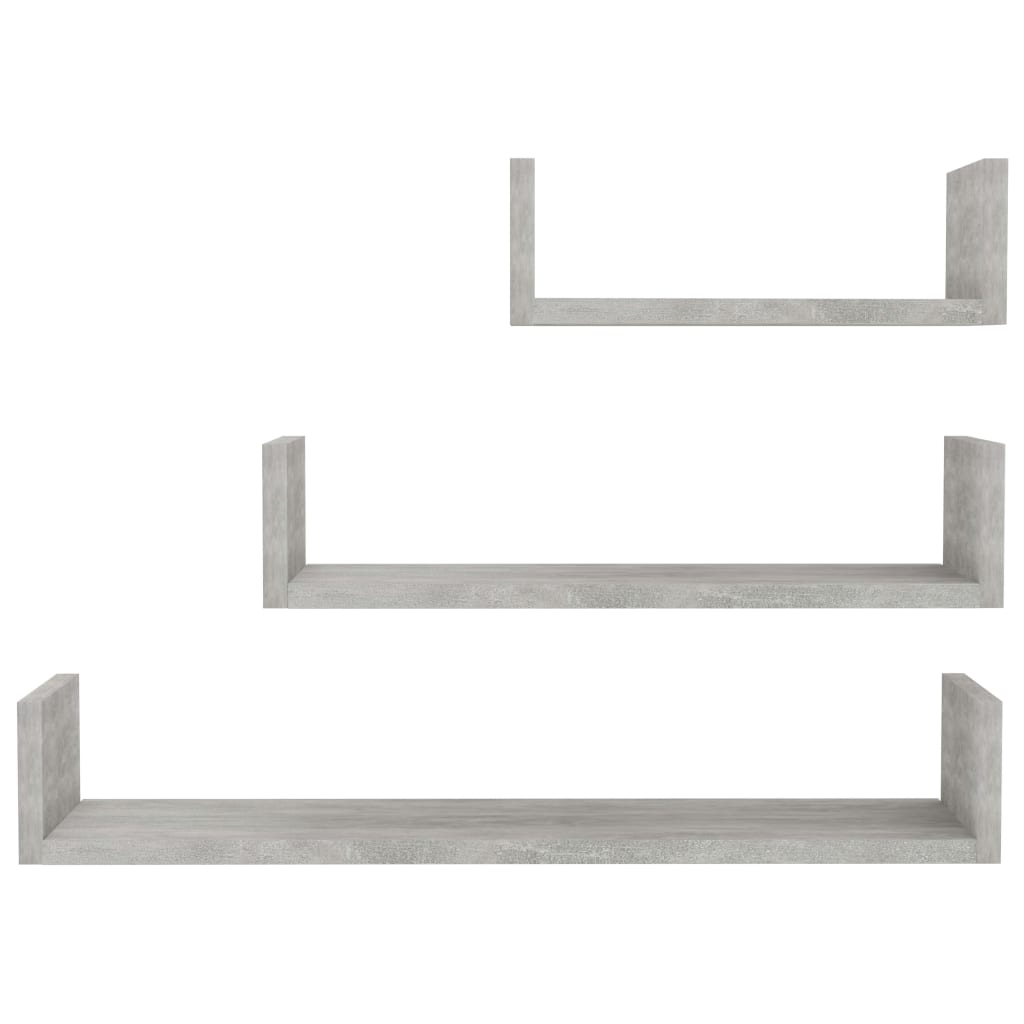 Wall Display Shelf 3 pcs Concrete Grey Chipboard 4