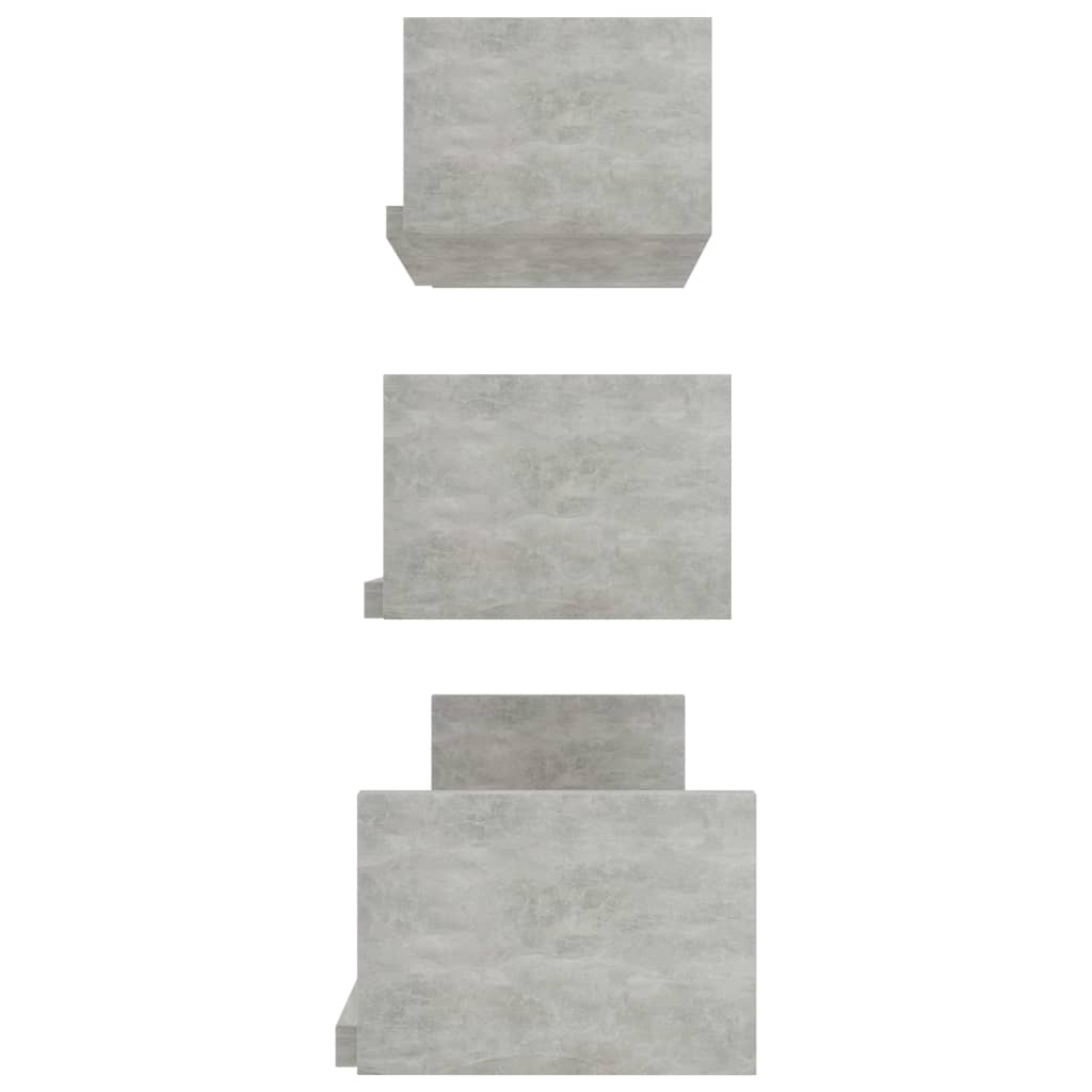 Wall Display Shelf 3 pcs Concrete Grey Chipboard 5