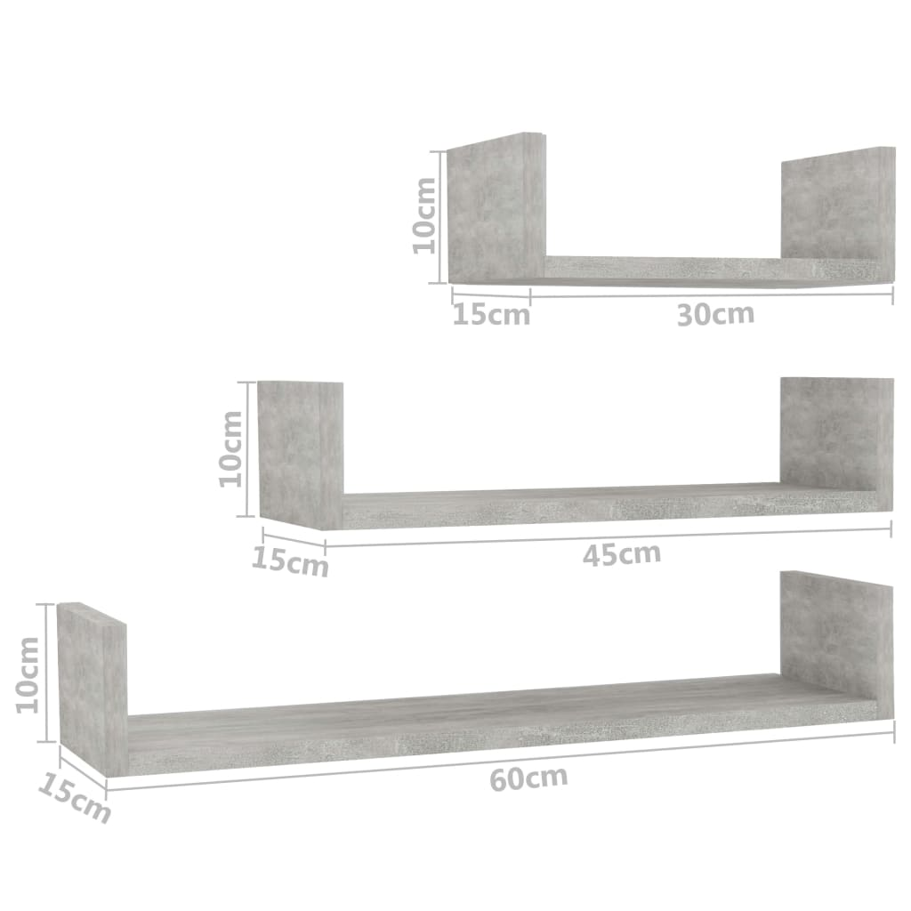Wall Display Shelf 3 pcs Concrete Grey Chipboard 6