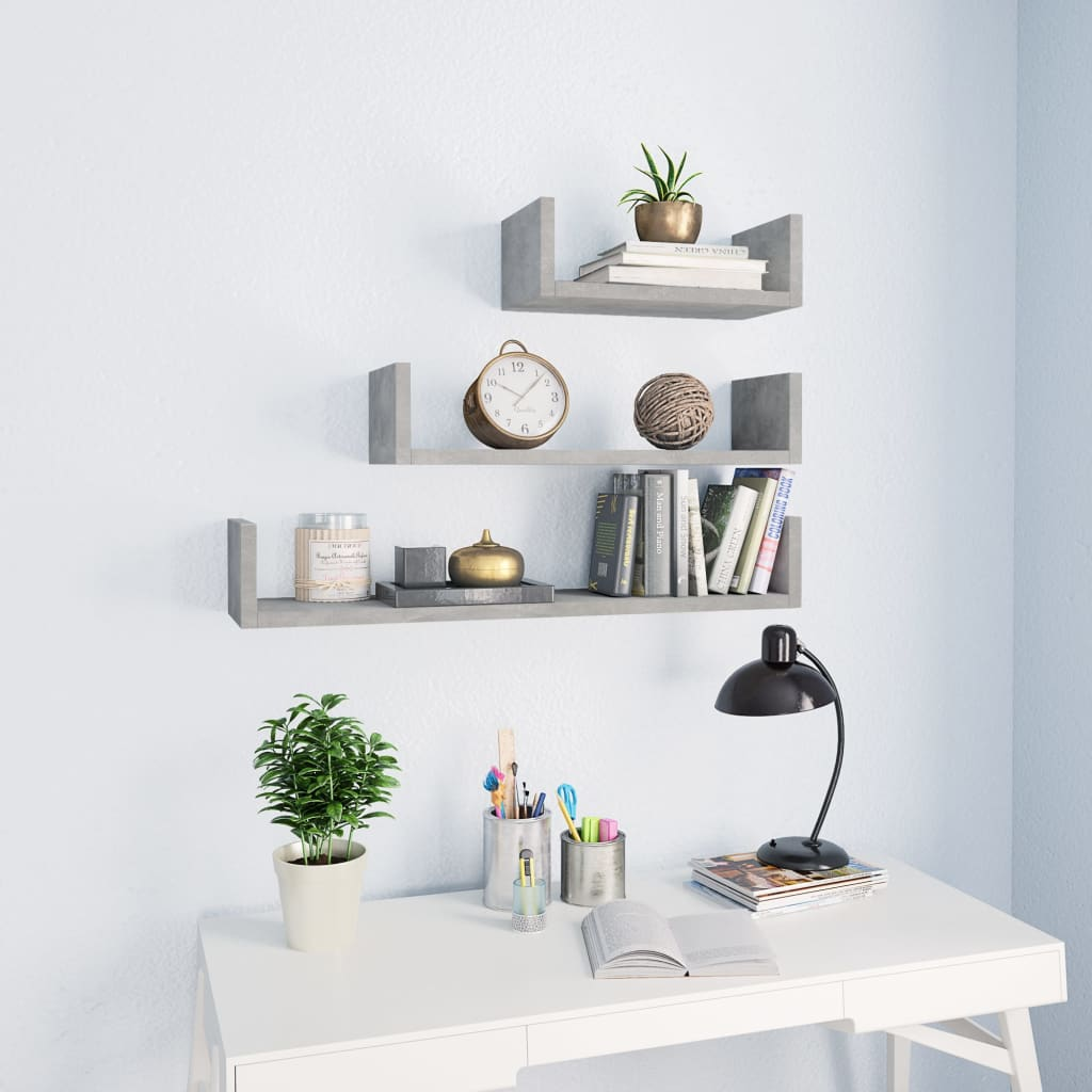 Wall Display Shelf 3 pcs Concrete Grey Chipboard 1