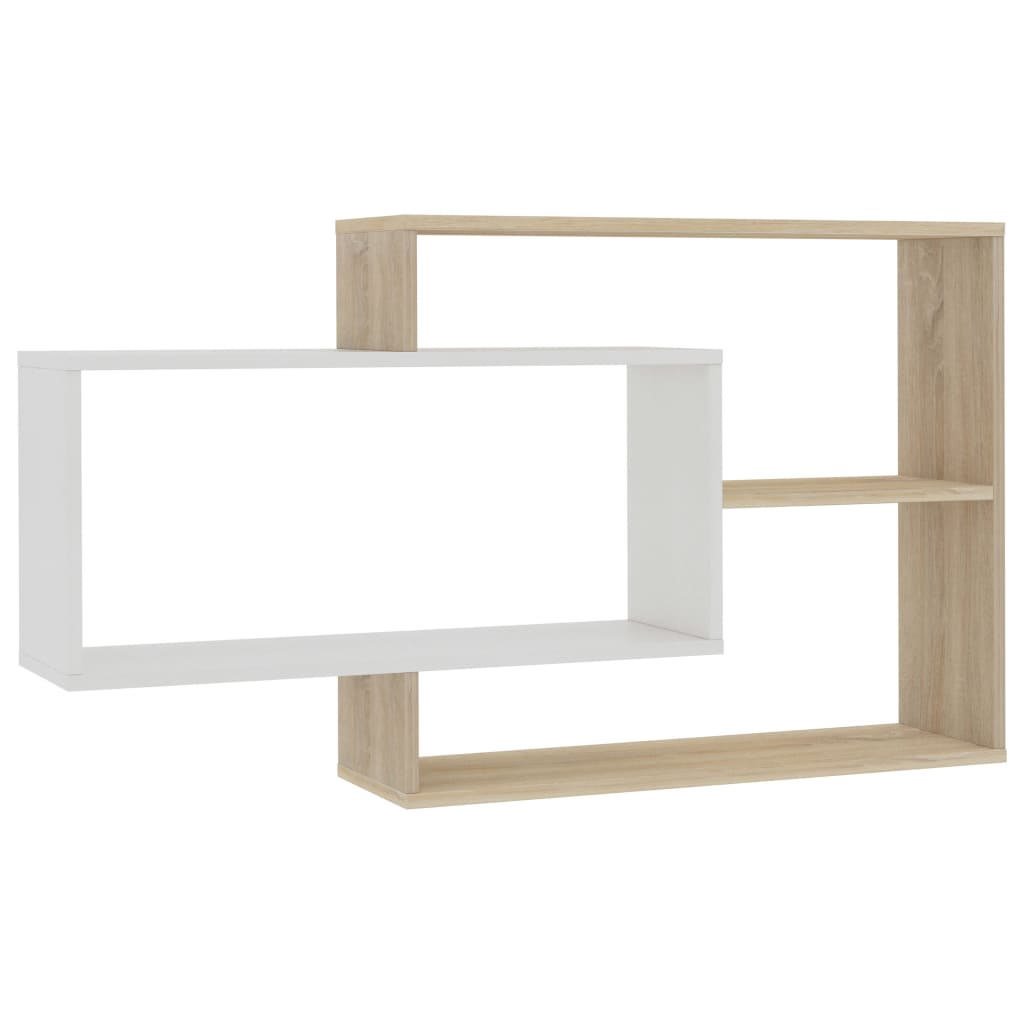 Wall Shelves White and Sonoma Oak 104x24x60 cm Chipboard 2