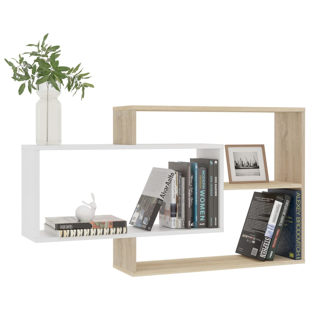 Wall Shelves White and Sonoma Oak 104x24x60 cm Chipboard 3