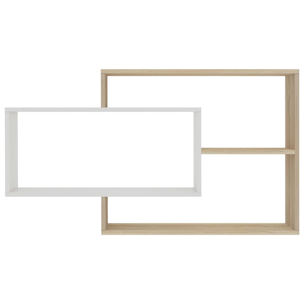 Wall Shelves White and Sonoma Oak 104x24x60 cm Chipboard 4