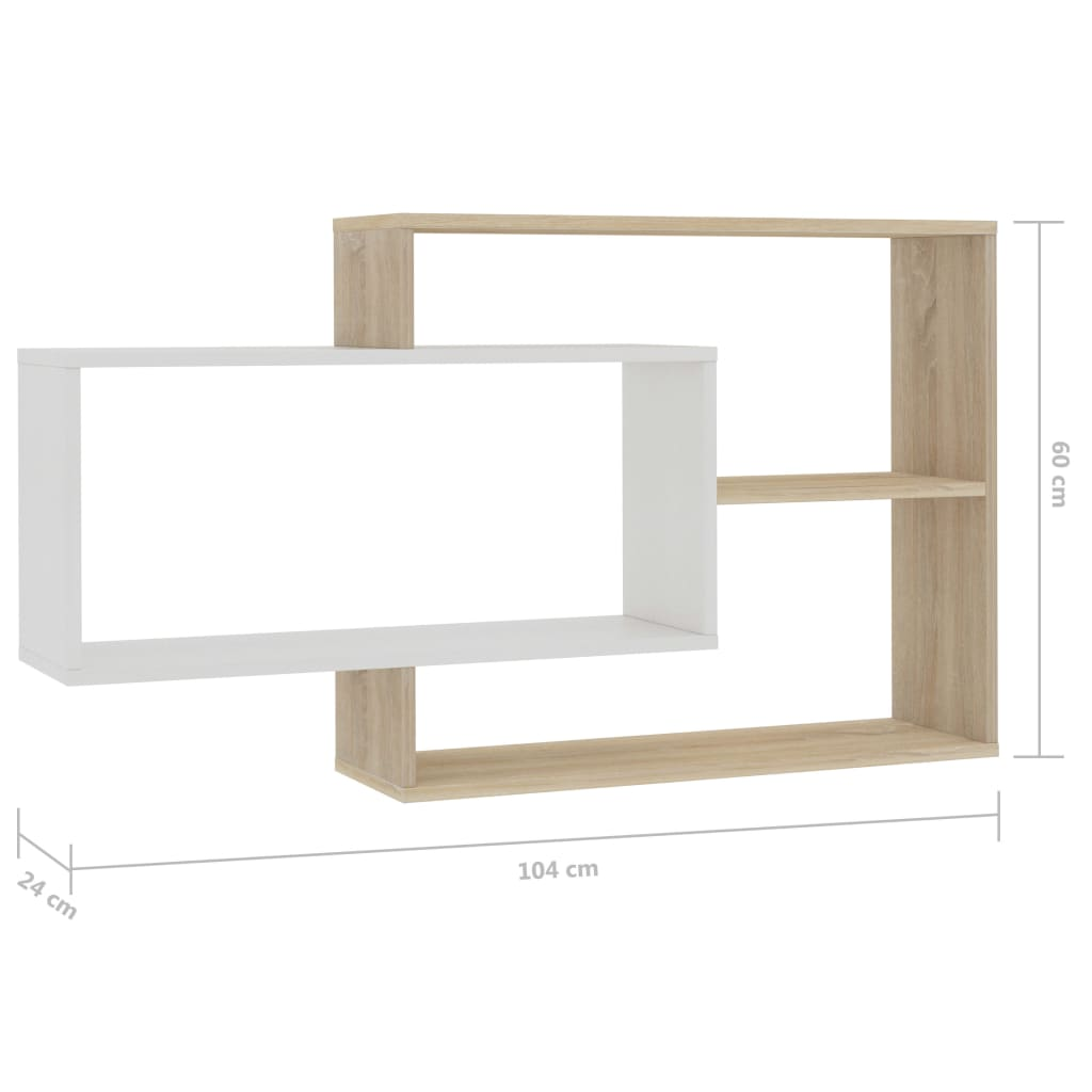 Wall Shelves White and Sonoma Oak 104x24x60 cm Chipboard 6