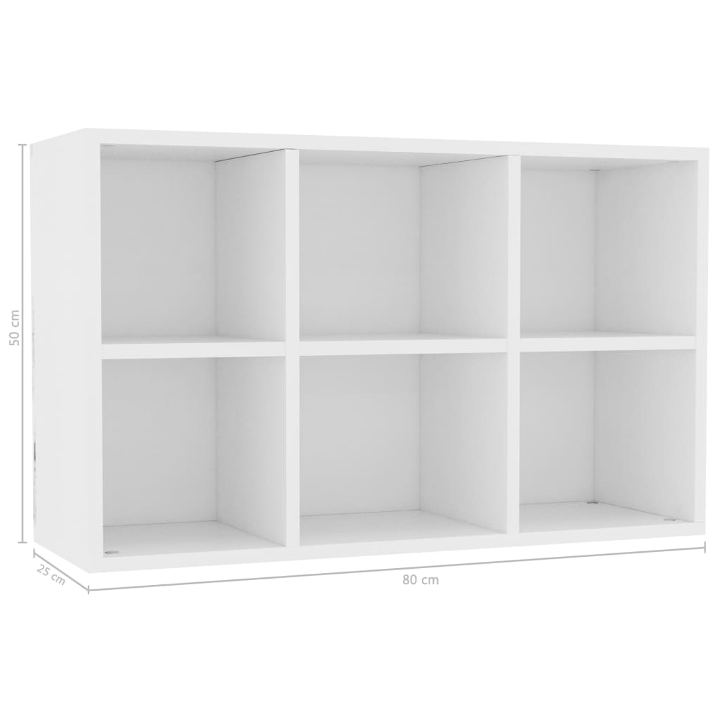 Book Cabinet/Sideboard White 50x25x80 cm Chipboard 11