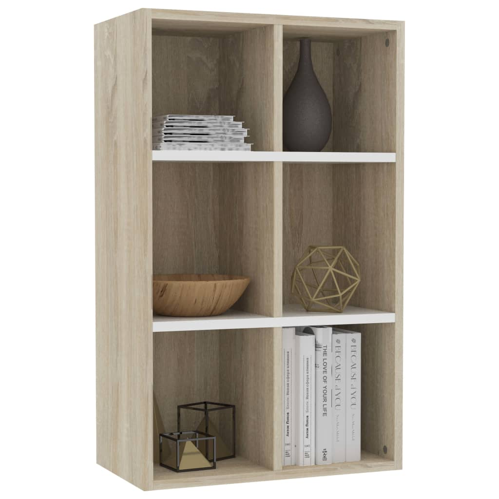 Book Cabinet/Sideboard White and Sonoma Oak 50x25x80 cm Chipboard 3