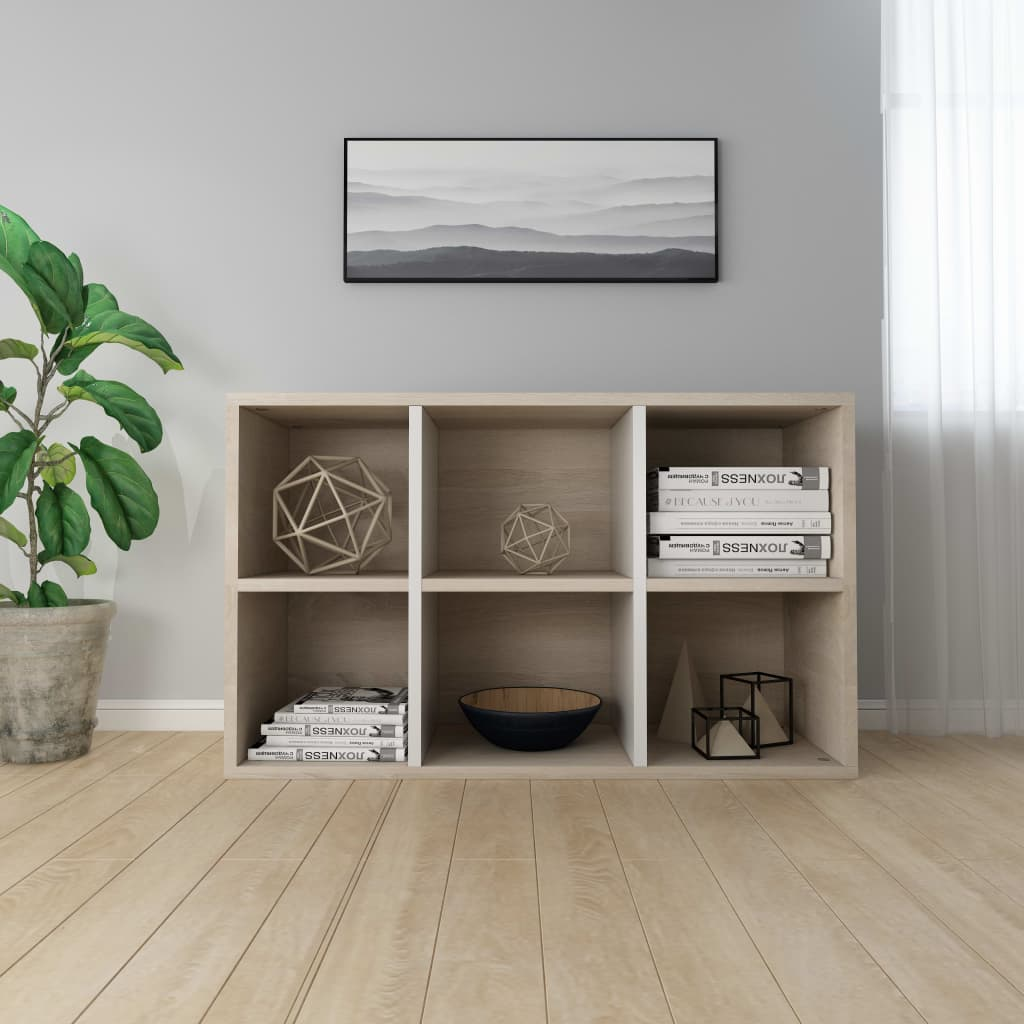 Book Cabinet/Sideboard White and Sonoma Oak 50x25x80 cm Chipboard 4