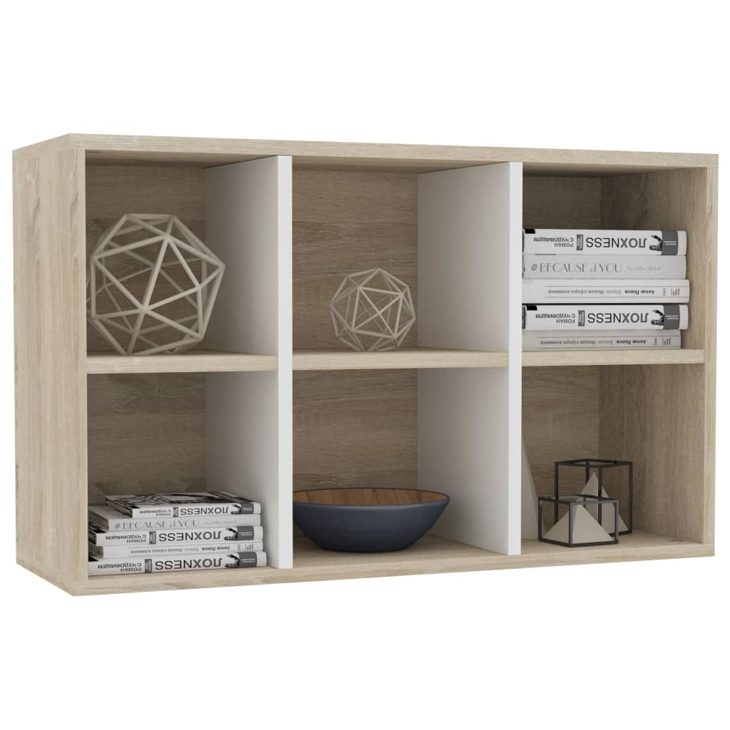 Book Cabinet/Sideboard White and Sonoma Oak 50x25x80 cm Chipboard 5