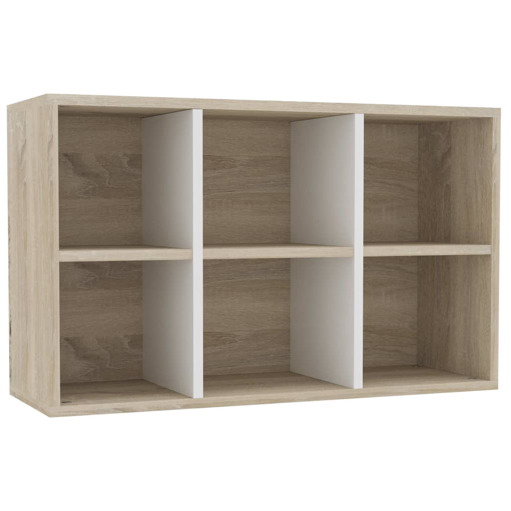 Book Cabinet/Sideboard White and Sonoma Oak 50x25x80 cm Chipboard 8