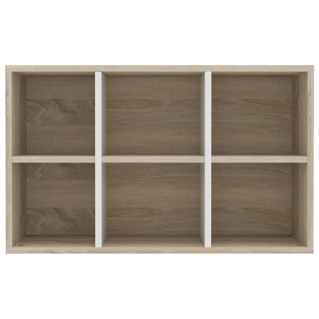 Book Cabinet/Sideboard White and Sonoma Oak 50x25x80 cm Chipboard 9