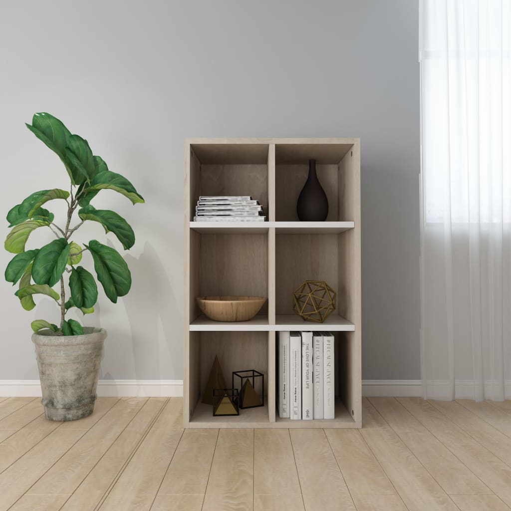 Book Cabinet/Sideboard White and Sonoma Oak 50x25x80 cm Chipboard