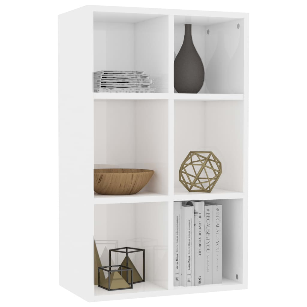 Book Cabinet/Sideboard High Gloss White 50x25x80 cm Chipboard 3