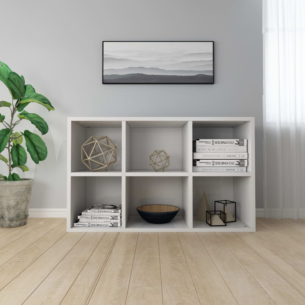 Book Cabinet/Sideboard High Gloss White 50x25x80 cm Chipboard 4