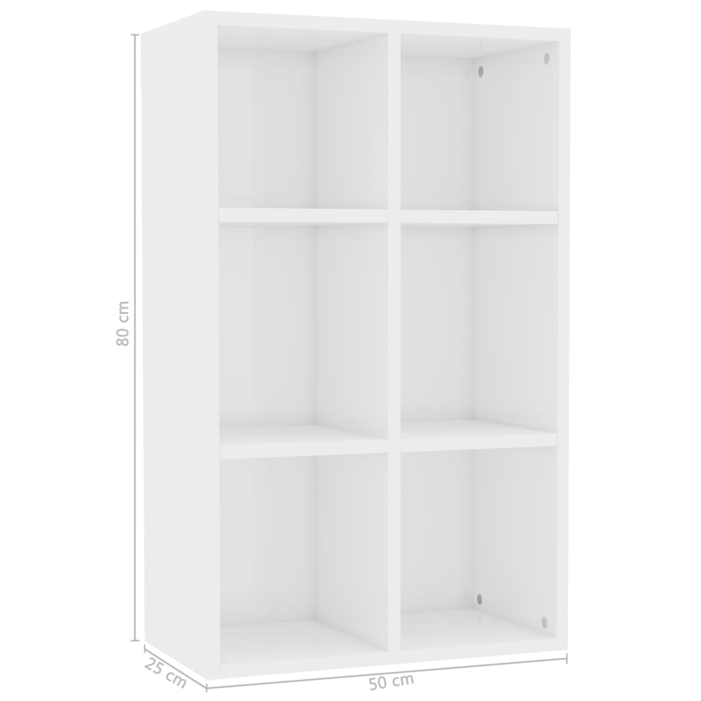 Book Cabinet/Sideboard High Gloss White 50x25x80 cm Chipboard 11