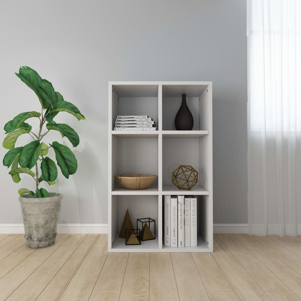 Book Cabinet/Sideboard High Gloss White 50x25x80 cm Chipboard 1