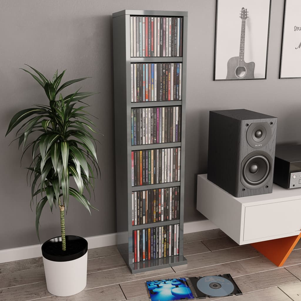 CD Cabinet High Gloss Grey 21x16x88 cm Chipboard