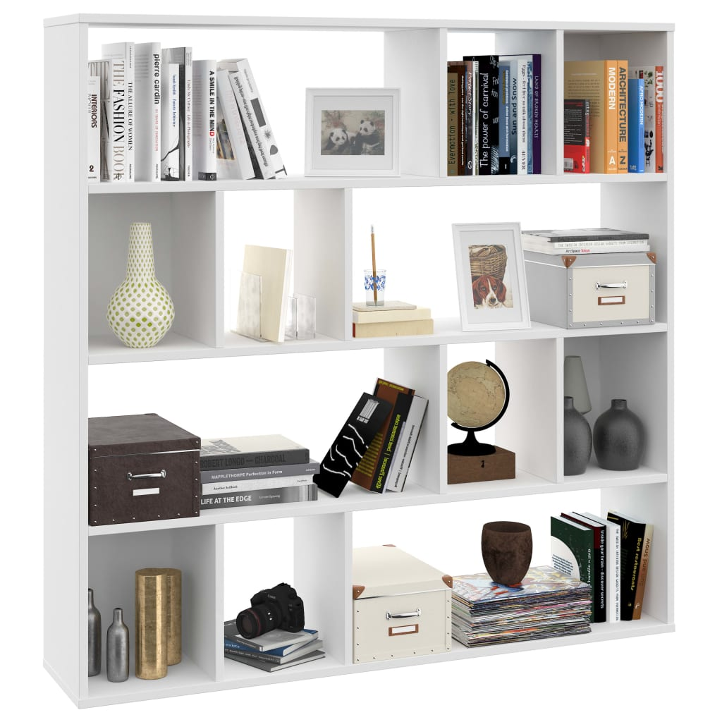 Room Divider/Book Cabinet White 110x24x110 cm Chipboard 4