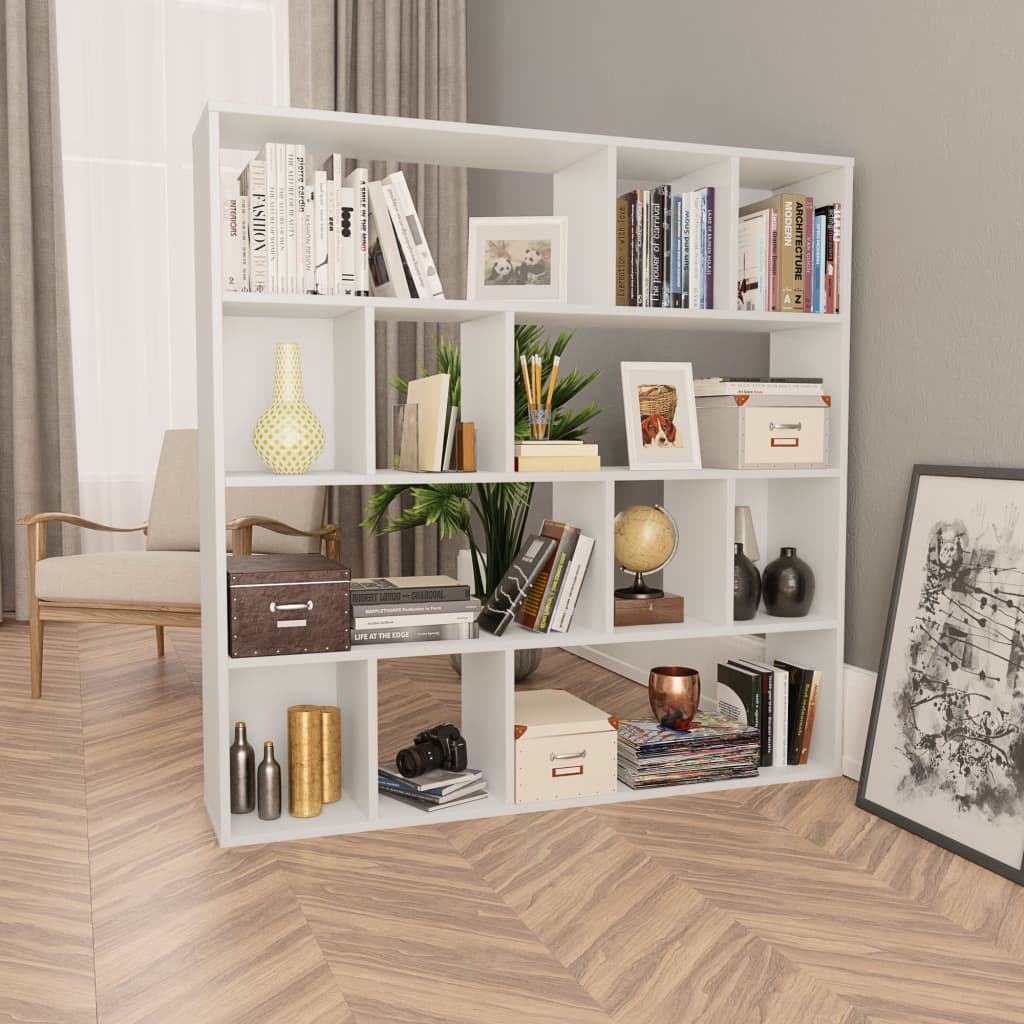 Room Divider/Book Cabinet White 110x24x110 cm Chipboard