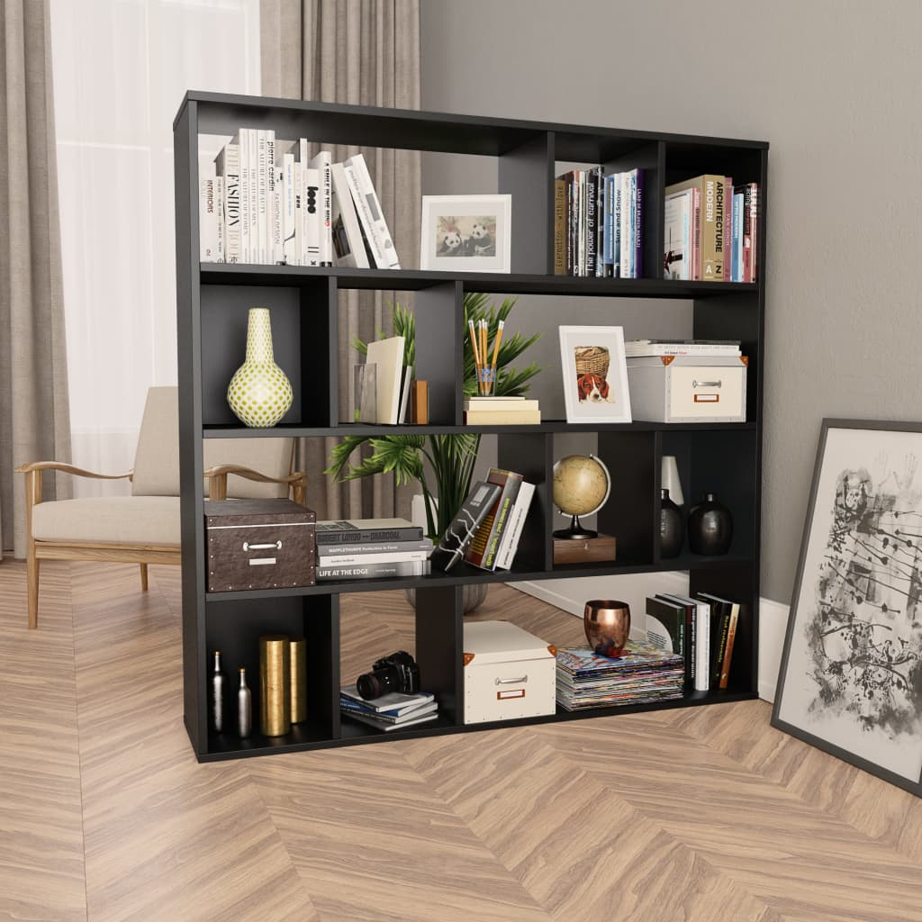 Room Divider/Book Cabinet Black 110x24x110 cm Chipboard