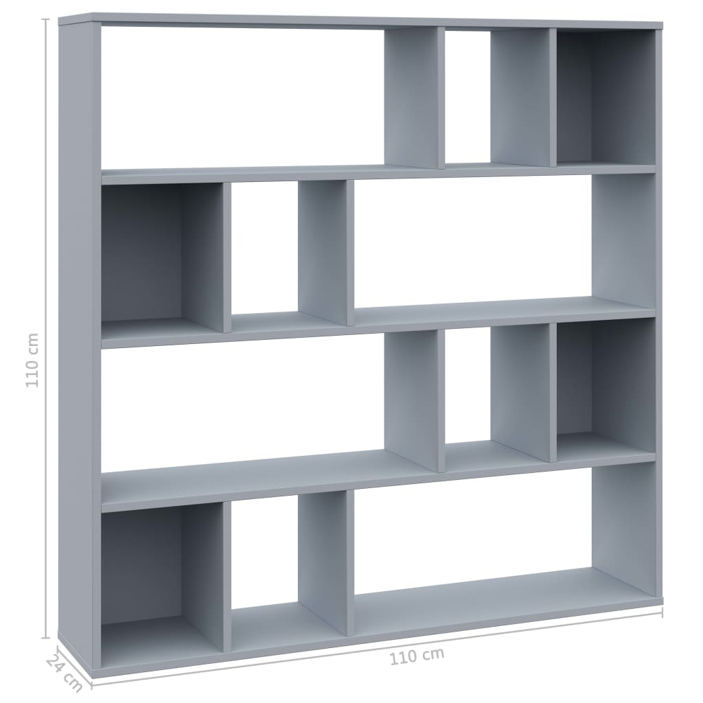 Room Divider/Book Cabinet Grey 110x24x110 cm Chipboard 7